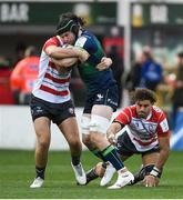 8 December 2019; Eoghan Masterson of Connacht is tackled by Jake Polledri of Gloucester during the Heineken Champions Cup Pool 5 Round 3 match between Gloucester and Connacht at Kingsholm Stadium in Gloucester, England. Photo by Ramsey Cardy/Sportsfile