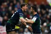 8 December 2019; John Porch, left, celebrates with Connacht team-mate Caolin Blade after scoring his side's first try during the Heineken Champions Cup Pool 5 Round 3 match between Gloucester and Connacht at Kingsholm Stadium in Gloucester, England. Photo by Ramsey Cardy/Sportsfile