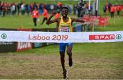 8 December 2019; Robel Fsiha of Sweden crosses the line to win the Senior Men's event during the European Cross Country Championships 2019 at Bela Vista Park in Lisbon, Portugal. Photo by Sam Barnes/Sportsfile
