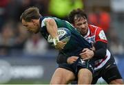 8 December 2019; John Porch of Connacht is tackled by Danny Cipriani of Gloucester during the Heineken Champions Cup Pool 5 Round 3 match between Gloucester and Connacht at Kingsholm Stadium in Gloucester, England. Photo by Ramsey Cardy/Sportsfile