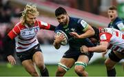 8 December 2019; Colby Fainga'a of Connacht is tackled by Billy Twelvetrees, left, and Ben Morgan of Gloucester during the Heineken Champions Cup Pool 5 Round 3 match between Gloucester and Connacht at Kingsholm Stadium in Gloucester, England. Photo by Ramsey Cardy/Sportsfile
