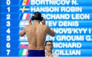 8 December 2019; Brendan Hyland of Ireland prior to competing in the Men's 200m Butterfly Heats during day five of the European Short Course Swimming Championships 2019 at Tollcross International Swimming Centre in Glasgow, Scotland. Photo by Joseph Kleindl/Sportsfile