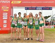 8 December 2019; The Ireland Senior Women's team celebrate winning a silver medal during the European Cross Country Championships 2019 at Bela Vista Park in Lisbon, Portugal. Photo by Sam Barnes/Sportsfile