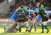 7 December 2019; James Ryan of Leinster is tackled by Alex Waller, left, and Ehren Painter of Northampton Saints during the Heineken Champions Cup Pool 1 Round 3 match between Northampton Saints and Leinster at Franklins Gardens in Northampton, England. Photo by Ramsey Cardy/Sportsfile