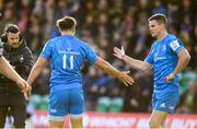 7 December 2019; Jonathan Sexton, right, and James Lowe of Leinster during the Heineken Champions Cup Pool 1 Round 3 match between Northampton Saints and Leinster at Franklins Gardens in Northampton, England. Photo by Ramsey Cardy/Sportsfile