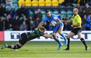 7 December 2019; Dave Kearney of Leinster is tackled by Rory Hutchinson of Northampton Saints during the Heineken Champions Cup Pool 1 Round 3 match between Northampton Saints and Leinster at Franklins Gardens in Northampton, England. Photo by Ramsey Cardy/Sportsfile