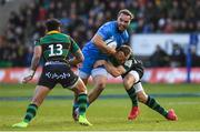 7 December 2019; James Lowe of Leinster is tackled by Rory Hutchinson of Northampton Saints during the Heineken Champions Cup Pool 1 Round 3 match between Northampton Saints and Leinster at Franklins Gardens in Northampton, England. Photo by Ramsey Cardy/Sportsfile