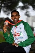 8 December 2019; Efrem Gidey of Ireland with his bronze medal from the U20 Men's event during the European Cross Country Championships 2019 at Bela Vista Park in Lisbon, Portugal. Photo by Sam Barnes/Sportsfile