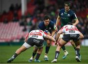 8 December 2019; Quinn Roux of Connacht is tackled by Val Rapava Ruskin, left, and Jake Polledri of Gloucester during the Heineken Champions Cup Pool 5 Round 3 match between Gloucester and Connacht at Kingsholm Stadium in Gloucester, England. Photo by Ramsey Cardy/Sportsfile