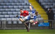 8 December 2019; Alan Flood of Ballyboden St Endas is tackled by Mark Fitzgerald of Éire Óg during the AIB Leinster GAA Football Senior Club Championship Final between Eire Óg Carlow and Ballyboden St. Enda's GAA at MW Hire O'Moore Park in Portlaoise, Co. Laois. Photo by David Fitzgerald/Sportsfile