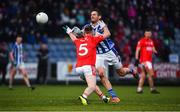 8 December 2019; Declan O'Mahoney of Ballyboden St Endas in action against Jordan Lowry of Éire Óg during the AIB Leinster GAA Football Senior Club Championship Final between Eire Óg Carlow and Ballyboden St. Enda's GAA at MW Hire O'Moore Park in Portlaoise, Co. Laois. Photo by David Fitzgerald/Sportsfile