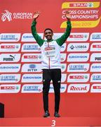 8 December 2019; Efrem Gidey of Ireland collects his bronze medal from the U20 Men's event during the European Cross Country Championships 2019 at Bela Vista Park in Lisbon, Portugal. Photo by Sam Barnes/Sportsfile