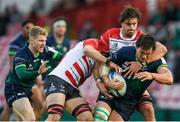 8 December 2019; Quinn Roux of Connacht is tackled by Lewis Ludlow, left, and Gerbrandt Grobler of Gloucester during the Heineken Champions Cup Pool 5 Round 3 match between Gloucester and Connacht at Kingsholm Stadium in Gloucester, England. Photo by Ramsey Cardy/Sportsfile