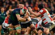 8 December 2019; Robin Copeland of Connacht is tackled by Lewis Ludlow of Gloucester during the Heineken Champions Cup Pool 5 Round 3 match between Gloucester and Connacht at Kingsholm Stadium in Gloucester, England. Photo by Ramsey Cardy/Sportsfile