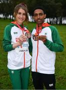 8 December 2019; Stephanie Cotter of Ireland with her individual bronze medal, from the Women's U23 event, and Efrem Gidey of Ireland with his bronze medal, from the U20 Men's event, during the European Cross Country Championships 2019 at Bela Vista Park in Lisbon, Portugal. Photo by Sam Barnes/Sportsfile
