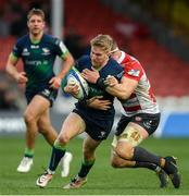 8 December 2019; Stephen Kerins of Connacht is tackled by Alex Craig of Gloucester during the Heineken Champions Cup Pool 5 Round 3 match between Gloucester and Connacht at Kingsholm Stadium in Gloucester, England. Photo by Ramsey Cardy/Sportsfile