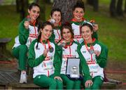 8 December 2019; Ireland Women's U23 team event silver medallists during the European Cross Country Championships 2019 at Bela Vista Park in Lisbon, Portugal. Photo by Sam Barnes/Sportsfile