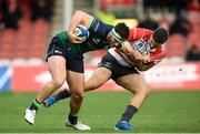 8 December 2019; Tom Daly of Connacht is tackled by Matt Banahan of Gloucester during the Heineken Champions Cup Pool 5 Round 3 match between Gloucester and Connacht at Kingsholm Stadium in Gloucester, England. Photo by Ramsey Cardy/Sportsfile