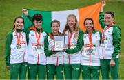 8 December 2019; Irish athletes, from left, Aoibhe Richardson, Una Britton, Fionnuala McCormack, Mary Mulhare, Fionnuala Ross and Ciara Mageean after winning a team silver medal in the Senior Women's event during the European Cross Country Championships 2019 at Bela Vista Park in Lisbon, Portugal. Photo by Sam Barnes/Sportsfile