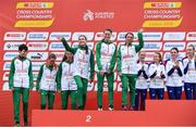 8 December 2019; Irish athletes, from left, Una Britton, Fionnuala McCormack, Mary Mulhare, Aoibhe Richardson, Ciara Mageean and Fionnuala Ross after winning a team silver medal in the Senior Women's event during the European Cross Country Championships 2019 at Bela Vista Park in Lisbon, Portugal. Photo by Sam Barnes/Sportsfile
