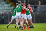 8 December 2019; Dermot Campbell of Louth and Mathew Costello of Meath tussle off the ball during the 2020 O'Byrne Cup Round 1 match between Meath and Louth at Páirc Tailteann in Navan, Co Meath. Photo by Piaras Ó Mídheach/Sportsfile