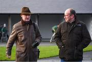 8 December 2019; Trainer Willie Mullins, left, speaks with Gordon Elliott's assistant trainer Ian Amond prior to the John Durkan Memorial Punchestown Steeplechase at Punchestown Racecourse in Kildare. Photo by Harry Murphy/Sportsfile