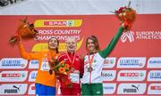 8 December 2019; Women's U23 medallists, from left, Jasmijn Lau of Netherlands, silver, Anna-Emilie Møller of Denmark, gold, and Stephanie Cotter of Ireland, bronze, during the European Cross Country Championships 2019 at Bela Vista Park in Lisbon, Portugal. Photo by Sam Barnes/Sportsfile