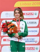 8 December 2019; Stephanie Cotter of Ireland after winning a bronze medal in the Women's U23 event during the European Cross Country Championships 2019 at Bela Vista Park in Lisbon, Portugal. Photo by Sam Barnes/Sportsfile
