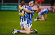 8 December 2019; Darren O'Reilly, left, and Tom Hayes of Ballyboden St Endas celebrate following the AIB Leinster GAA Football Senior Club Championship Final between Eire Óg Carlow and Ballyboden St. Enda's GAA at MW Hire O'Moore Park in Portlaoise, Co. Laois. Photo by David Fitzgerald/Sportsfile