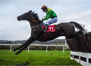 8 December 2019; Flynsini, with Gearoid Brouder up, jump the second to last during the Join The Best Club In Town Punchestown Members Handicap Steeplechase at Punchestown Racecourse in Kildare. Photo by Harry Murphy/Sportsfile