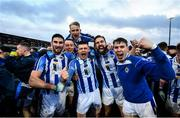 8 December 2019; James Holland of Ballyboden St Endas, centre, Shane Clayton, left, Sean Gibbons, right, and Tom Hayes, top, celebrate following the AIB Leinster GAA Football Senior Club Championship Final between Eire Óg Carlow and Ballyboden St. Enda's GAA at MW Hire O'Moore Park in Portlaoise, Co. Laois. Photo by David Fitzgerald/Sportsfile
