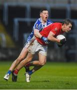 8 December 2019; Mark Furey of Éire Óg in action against Ryan Basquel of Ballyboden St Endas during the AIB Leinster GAA Football Senior Club Championship Final between Eire Óg Carlow and Ballyboden St. Enda's GAA at MW Hire O'Moore Park in Portlaoise, Co. Laois. Photo by David Fitzgerald/Sportsfile