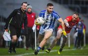 8 December 2019; Warren Egan of Ballyboden St Endas in action against Jordan Lowry of Éire Óg during the AIB Leinster GAA Football Senior Club Championship Final between Eire Óg Carlow and Ballyboden St. Enda's GAA at MW Hire O'Moore Park in Portlaoise, Co. Laois. Photo by David Fitzgerald/Sportsfile