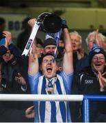 8 December 2019; Ballyboden captain Ryan Basquel lifts the trophy following the AIB Leinster GAA Football Senior Club Championship Final between Eire Óg Carlow and Ballyboden St. Enda's GAA at MW Hire O'Moore Park in Portlaoise, Co. Laois. Photo by David Fitzgerald/Sportsfile