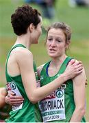 8 December 2019; Fionnuala McCormack of Ireland, right, is congratulated by her sister Una Britton, after Ireland won a team silver medal in the Senior Women's event during the European Cross Country Championships 2019 at Bela Vista Park in Lisbon, Portugal. Photo by Sam Barnes/Sportsfile
