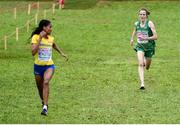 8 December 2019; Fionnuala McCormack of Ireland, right, on her way to finishing fourth in the Senior Women's event, behind, Samrawit Mengsteab of Swenden, during the European Cross Country Championships 2019 at Bela Vista Park in Lisbon, Portugal. Photo by Sam Barnes/Sportsfile