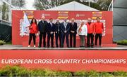 8 December 2019; A general view of the official flag handover of the European Cross Country Championships to Ireland, who will host the 2020 champiobships competing during the European Cross Country Championships 2019 at Bela Vista Park in Lisbon, Portugal. Photo by Sam Barnes/Sportsfile