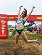8 December 2019; Stephanie Cotter of Ireland celebrates winning a bronze medal in the Women's U23 event during the European Cross Country Championships 2019 at Bela Vista Park in Lisbon, Portugal. Photo by Sam Barnes/Sportsfile