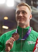 8 December 2019; Shane Ryan of Ireland with his bronze medal of the Men's 50m Backstroke during day five of the European Short Course Swimming Championships 2019 at Tollcross International Swimming Centre in Glasgow, Scotland. Photo by Joseph Kleindl/Sportsfile