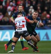 8 December 2019; Finlay Bealham of Connacht is tackled by Jake Polledri of Gloucester during the Heineken Champions Cup Pool 5 Round 3 match between Gloucester and Connacht at Kingsholm Stadium in Gloucester, England. Photo by Ramsey Cardy/Sportsfile
