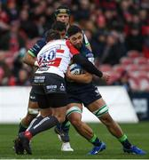 8 December 2019; Colby Fainga'a of Connacht is tackled by Danny Cipriani of Gloucester during the Heineken Champions Cup Pool 5 Round 3 match between Gloucester and Connacht at Kingsholm Stadium in Gloucester, England. Photo by Ramsey Cardy/Sportsfile