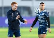 9 December 2019; Ciarán Frawley, left, and Adam Byrne during Leinster Rugby squad training at Energia Park in Donnybrook, Dublin. Photo by Ramsey Cardy/Sportsfile