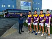 9 December 2019; Zurich begin sponsorship of Wexford GAA with launch of new jersey. Pictured are Wexford players, from left, Conor Devitt, Conor McDonald, Lee Chin, Niall Hughes and Wexford hurling manager Davy Fitzgerald at Zurich Insurance in Drinagh, Co. Wexford. Photo by Eóin Noonan/Sportsfile
