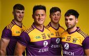 9 December 2019; Zurich begin sponsorship of Wexford GAA with launch of new jersey. Pictured are Wexford players, from left, Niall Hughes, Lee Chin, Conor McDonald and Conor Devitt at Zurich Insurance in Drinagh, Co. Wexford. Photo by Eóin Noonan/Sportsfile
