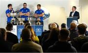9 December 2019; Leinster players, Jimmy O'Brien, Jack Conan, Scott Penny in conversation with Leinster Senior Communications & Media Manager Marcus Ó Buachalla during the 2020 Bank of Ireland Leinster Rugby Schools Cup First Round Draw at Bank of Ireland in Ballsbridge, Dublin. Photo by Ramsey Cardy/Sportsfile