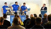 9 December 2019; Leinster players, Jimmy O'Brien, Jack Conan, Scott Penny in conversation with Leinster Communications Manager Marcus Ó Buachalla during the 2020 Bank of Ireland Leinster Rugby Schools Cup First Round Draw at Bank of Ireland in Ballsbridge, Dublin. Photo by Ramsey Cardy/Sportsfile