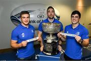 9 December 2019; Leinster players, Scott Penny, left, Jack Conan, centre, Jimmy O'Brien during the 2020 Bank of Ireland Leinster Rugby Schools Cup First Round Draw at Bank of Ireland in Ballsbridge, Dublin. Photo by Ramsey Cardy/Sportsfile