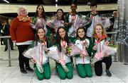 9 December 2019; Athletics Ireland President Georgina Drumm with members of the Ireland team, back row from left, Claire Fagan, Sorcha McAllister, Efrem Gidey, and Una Britton. Front row, from left, Eilish Flanagan, Róisín Flanagan, Aoibhe Richardson, and Mary Mulhare, during the Ireland European Cross Country Team Homecoming at Dublin Airport in Dublin. Photo by Piaras Ó Mídheach/Sportsfile
