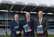 10 December 2019; In-Coming GAA Director of Games Development Shane Flanagan, left, with Uachtaráin Cumann Lúthchleas Gael John Horan, centre, and Committee Chair Michael Dempsey at the Launch of GAA Talent Academy and Player Development report at Croke Park in Dublin. Photo by Harry Murphy/Sportsfile