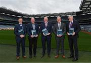 10 December 2019; In-Coming GAA Director of Games Development Shane Flanagan, left, with, from left to right, Committee Member Brian Cuthbert, Uachtaráin Cumann Lúthchleas Gael John Horan, Committee Chair Michael Dempsey, and Ulster Director of Coaching and Games Development Dr Eugene Young at the Launch of GAA Talent Academy and Player Development report at Croke Park in Dublin. Photo by Harry Murphy/Sportsfile